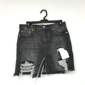 Free People 26 Ash Black Rugged A-Line Skirt 7BB61